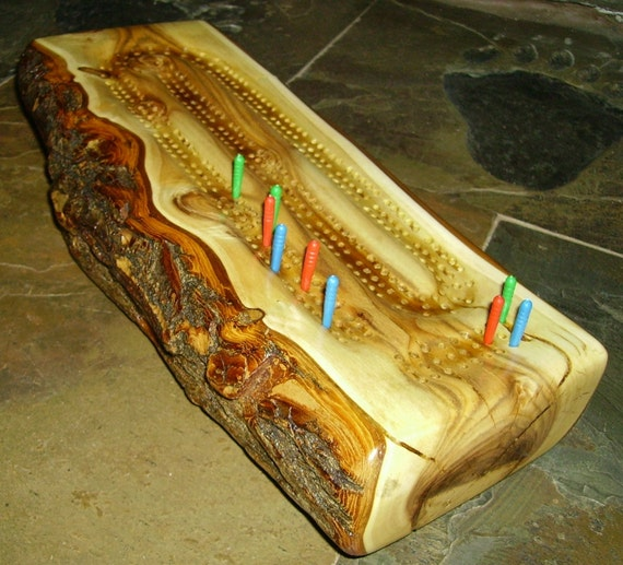 Rustic Twisted Hardwood Log Cribbage Board Features Natural