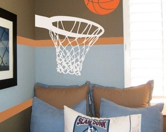 Basketball Wall Decal with Net and Basketball Hoop