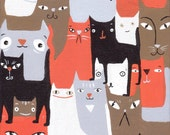 Many Cats Art Print 8x10 - Orange, Black, White, Brown and Grey - Whimsical Rescue Cat Decor
