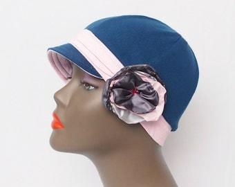 Blue with pink women Chemo Hats, All Season Handmade cap. 100% cotton. Cancer hat. Hair loss. Alopecia. Trichotillomania