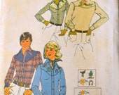 Vintage Sewing Pattern Simplicity 7051 Men's Western Shirts  Chest 38 to 40 inches Uncut Complete