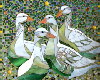 Geese Print - Limited Edition Giclee Print from an Original Glass Mosaic of Four Geese - Mosaic Art