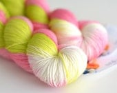 Hand Dyed Sock Fingering Yarn - Superwash Merino / Nylon 463 Yards - Pink Orchard in Chartreuse Green and Rose Pink