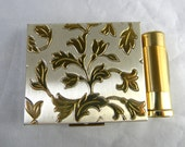 Vintage compact for powder or blush, with inside mirror and lipstick holder - excellent photo prop