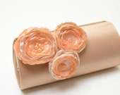 Dark Champagne Latte Clutch  Bridal Clutch Bridesmaid Clutch - Peach & Champagne Flowers - Petite Shabby Chic Bouquet Clutch