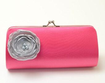 Bridal Clutch Bridesmaid Clutch - Fuchsia Pink Clutch with a Petite Silver Flower Bloom - Bridesmaid Gift