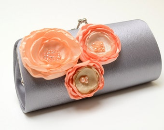 Gray Grey Clutch with Peach Apricot & Champagne Flowers - Bridal Clutch - Bridesmaid Clutch - Petite Shabby Chic Bouquet Clutch