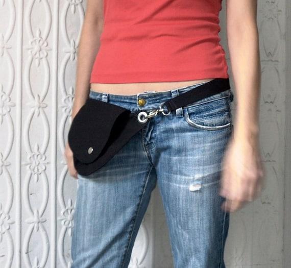 Black Cotton Belt Bag : Fanny Pack, Hip Bag, Hands Free Bag, Travel Bag, Festival Bag, Cotton Duck Cloth, Vendor Apron, Hipster Bag