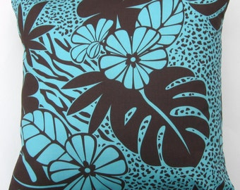 Turquoise Pillow Cover -- Chocolate Brown and Turquoise Tropical Cushion Cover -- 16 x 16