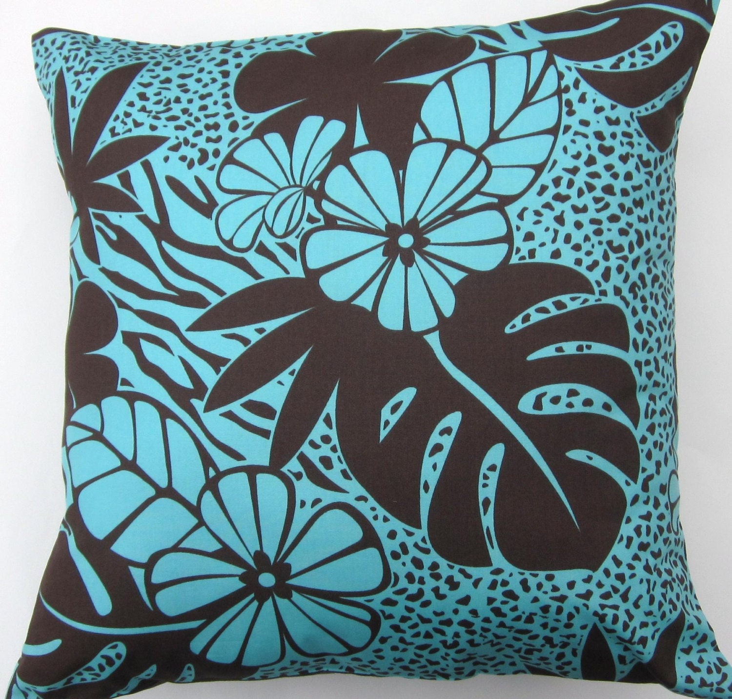 Aqua Brown Decorative Pillows : Turquoise Pillow Cover Chocolate Brown and Turquoise