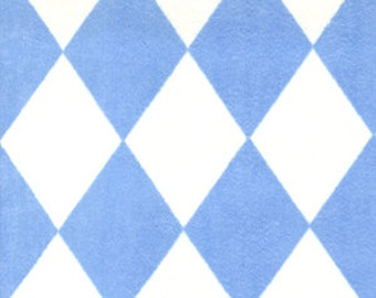 "Minky Fabric...BLUE and White Harlequin Diamond Minkee by Michael Miller...sold by the yard 60"" long"