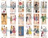 30 Digital 1x2 inch Vintage Sewing Pattern Images - DIY- you print domino jewelry supplies - INSTANT DOWNLOAD
