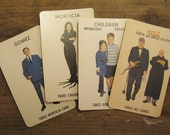 Vintage Milton Bradley Addams Family Game Cards - Set of 4 - Oversized Cards - Halloween