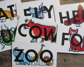 Vintage Scrabble Word Flash Cards - Set of 7 - Animals & Insects