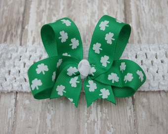 Boutique Headband St. Patrick's Day Infant/Toddler Headband Shamrock Bow Bowband