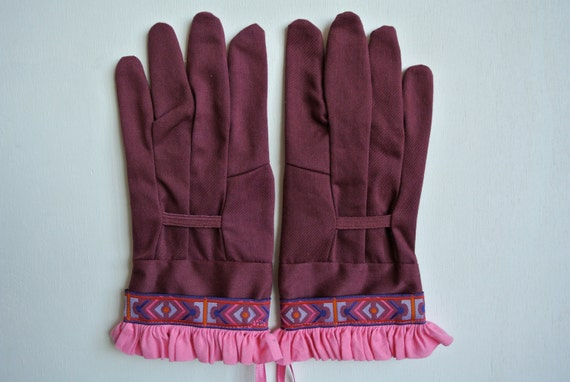 Designer Garden Gloves - As seen in Better Homes and Gardens DIY Magazine - Pink and Purple Tribal and Ruffle - One Size