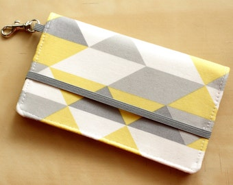 Triangle Phone Case - Gray and Yellow Iphone Wallet - Cell Phone Wallet - Graphic Print - Yellow and Gray - Smart Phone Wallet - Custom Size