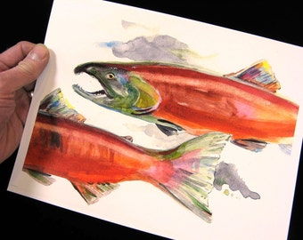 Fly Fisherman Gift. 8 1/2 X 11 Watercolor Art Print by Barry Singer. Best Sockeye Salmon Cottage decor