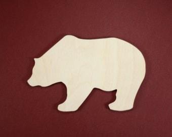 Bear Shape Unfinished Wood Laser Cut Shapes Crafts Variety of Sizes