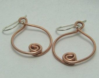 Mixed metal earrings copper rosebud sterling silver earwires