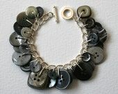 Button Bracelet Grey Sky Silver Gray Sky Charm Bracelet
