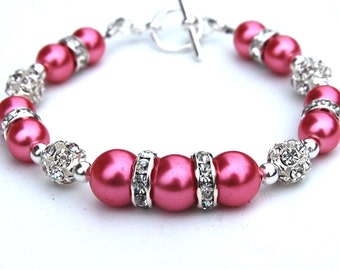 Rose Pink Jewelry, Pink Pearl Rhinestone Bridesmaid Bracelet, Bridesmaid Jewelry