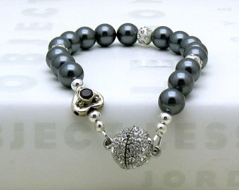 Charcoal Gray  Pearl  Rhinestone  Pave Modern  Beaded  Bracelet,  by cooljewelrydesign, Vintage Sterling Silver Heart,  For Her Under 130