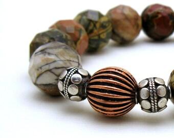 Picasso Jasper Modern Beaded Bracelet Sterling Silver and Copper Bracelet Stretch Modern Unisex Urban Woodland