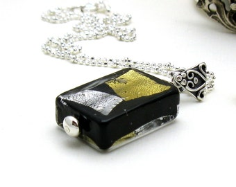 Black and Gold Murano Glass Pendant Necklace, Gold Black Silver Geometric Pendant Necklace, For Her Under 125, US Free Shipping