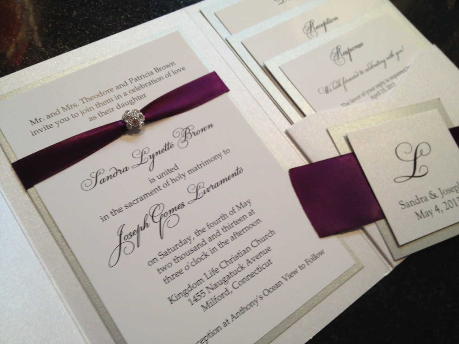 glamourous pocket wedding invitation in eggplant and gold shimmer