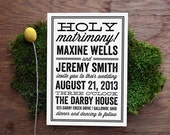Holy Matrimony Retro Vintage Playbill Wedding Invitation
