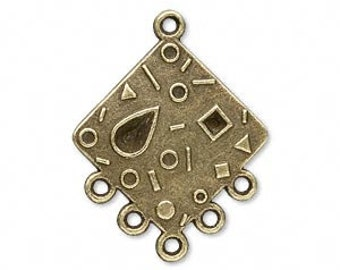QTY 10 Antiqued Brass Plated Pewter Drop with 5 Loops
