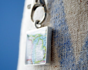 Square Map Pendant Custom Order Option:  You Name Your City or Hometown, In Silver Pewter, Gold or Copper, Large Square