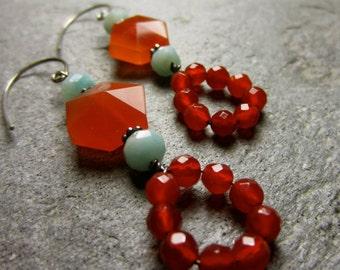 Carnelian and Amazonite Earrings
