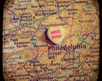 miss you philly custom candy heart map art 5x5 ttv photo print - free shipping