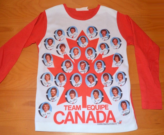70s vintage t-shirt 1976 OLYMPICS canada hockey team photo autograph maple leaf tee shirt youth XL adult XS Small