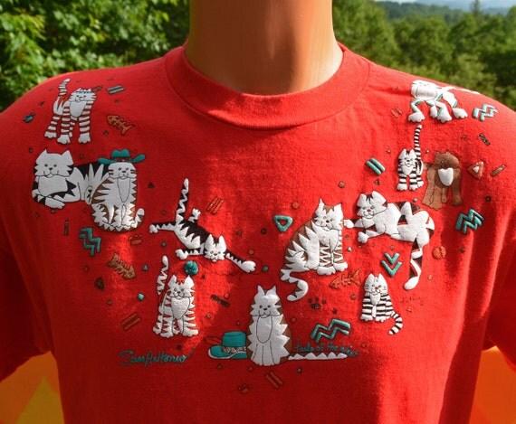 vintage 80s tee shirt cats san antonio glitter kitten red