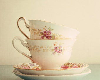 The Tea Cups - charming 8x8 vintage tea cup photo, kitchen wall art, pastel tones, flowers, ivory, cream, pale blue, shabby chic decor