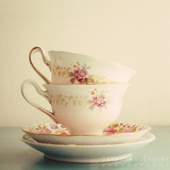The Tea Cups -  vintage tea cup photo, kitchen wall art, pastel tones, flowers, ivory, cream, pale blue, shabby chic decor