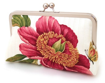 Clutch bag, wedding purse, pink flower, bridesmaid gift, gift box, PINK PEONY