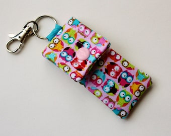 Key chain pouch earbud case pink owl print fabric key ring pouch