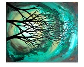 20 x 24 Canvas abstract tree painting rebecca bessette original art Talk to me softly