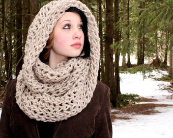 The Favorite Cowl neck hood scarf wool natural bone white