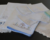 Beautiful Vintage Napkins, Hand towels and Table Linens Lt 03
