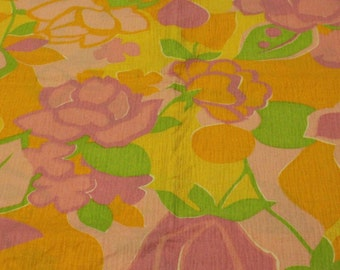 Vintage Pink Yellow Green Floral Print Cotton - 1 3/8 Yards -  Fabric Yardage / Woven Fabric / Cotton Fabric / 1960s Fabric / 1960s Cotton