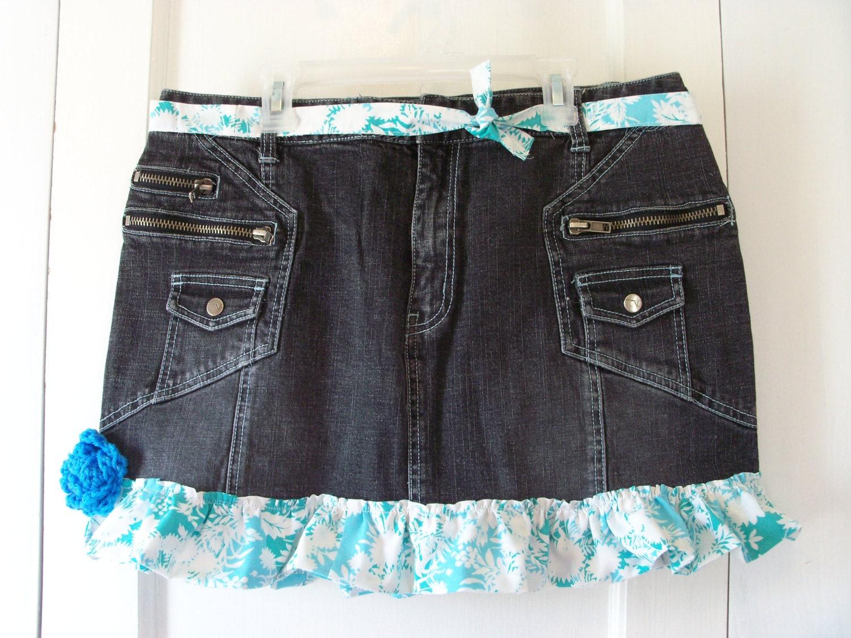 diy micro mini denim skirt with ruffle size 14