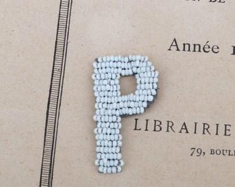 Vintage 1900 white beaded letter P
