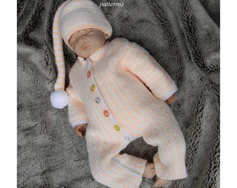 Baby Knitting Pattern Suit, Onesie, Pixie Hat Knitting Pattern 2 Sizes DIGITAL DOWNLOAD 182