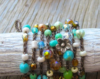 Blue lagoon crocheted bracelet/necklace 4 times wrap, natural, cottage, shabby chic, beach honeymoon