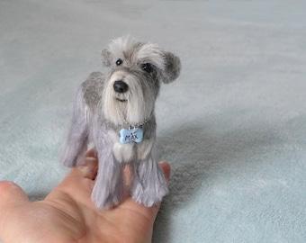 Needle Felted Animal / Custom Pet Portrait / Needle Felted Dog / Cute / poseable / example miniature Schnauzer